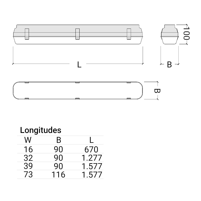ATLANTICS dimensiones de la luminaria