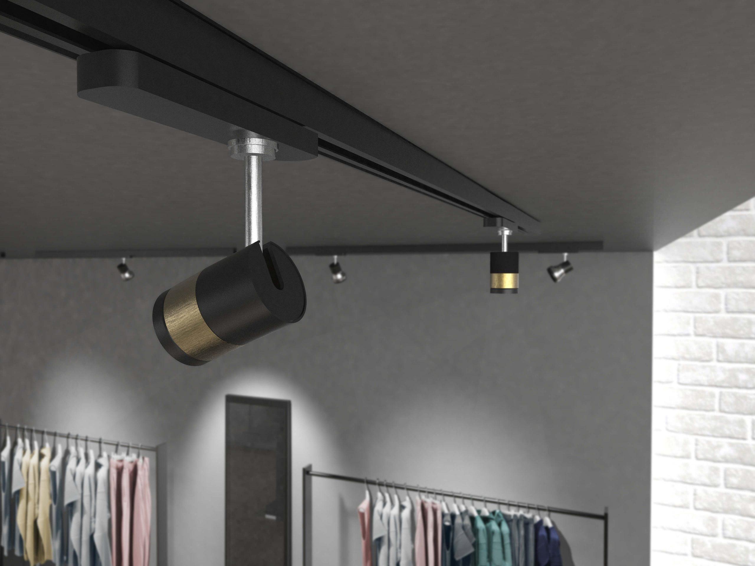 Detalle de instalación del mini proyector LED de alta reproducción cromática CRI 95, RITMO de Lledó.