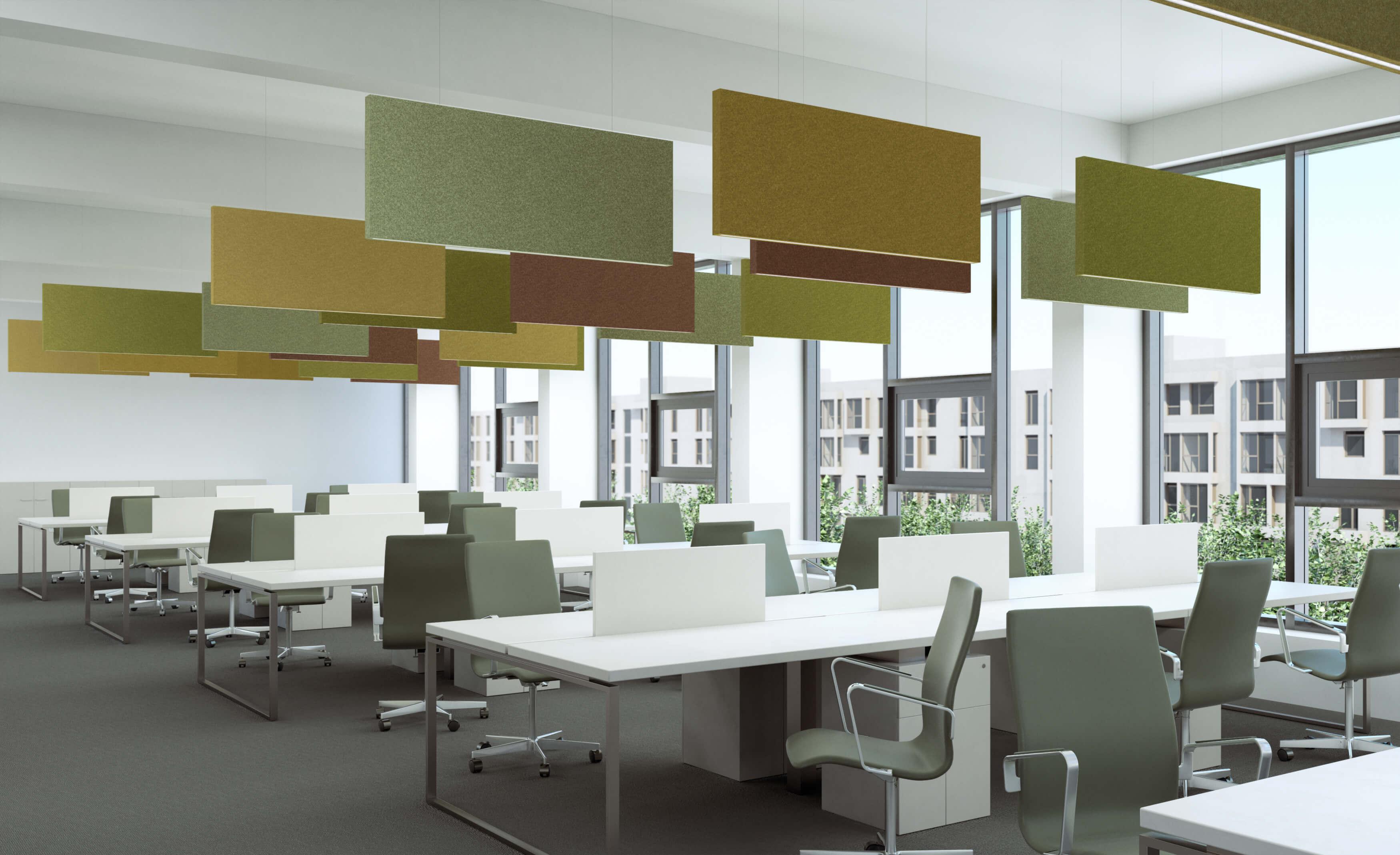 Oficina con iluminación y paneles absorbentes acústicos