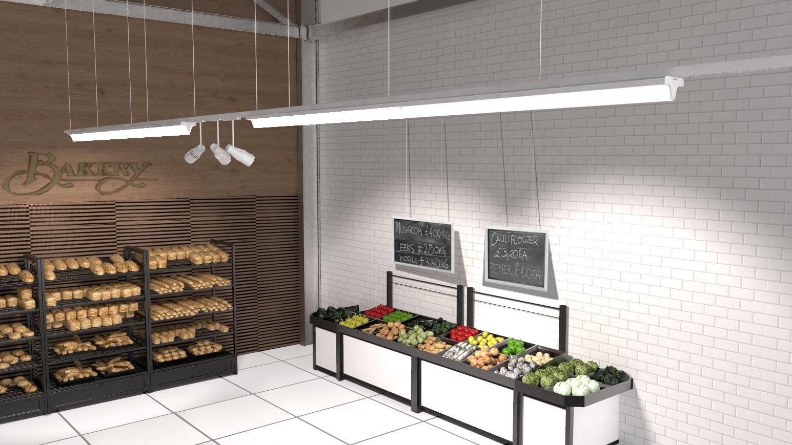 Como iluminar un supermercado o una tienda.