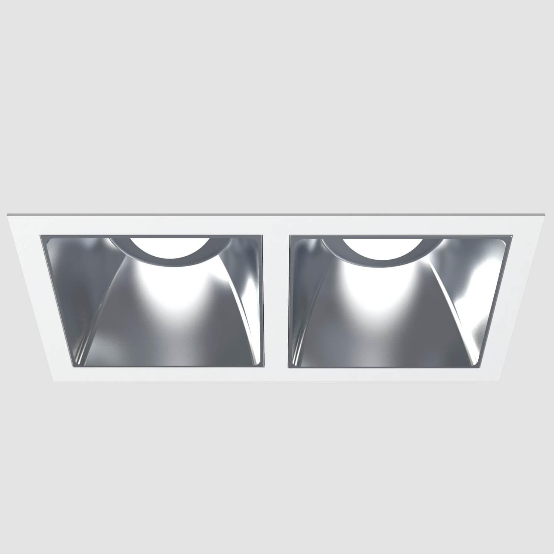 Downlights para instalación empotrados en techo, corte de 230 x 118 mm, acabados en color blanco mate. Versiones con temperatura de color de 3000 o 4000 K, IP 40 y flujo luminoso de hasta 2210 lúmenes. Disponible con protocolo de regulación digital DALI