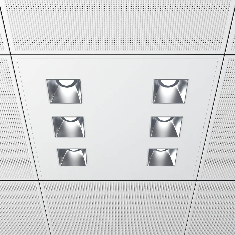 Luminarias para instalación empotradas en techo, corte de 582 x 582 mm, acabados en color blanco mate. Versiones con , IP 40 y flujo luminoso de hasta 5290 lúmenes. Disponible con protocolo de regulación digital DALI