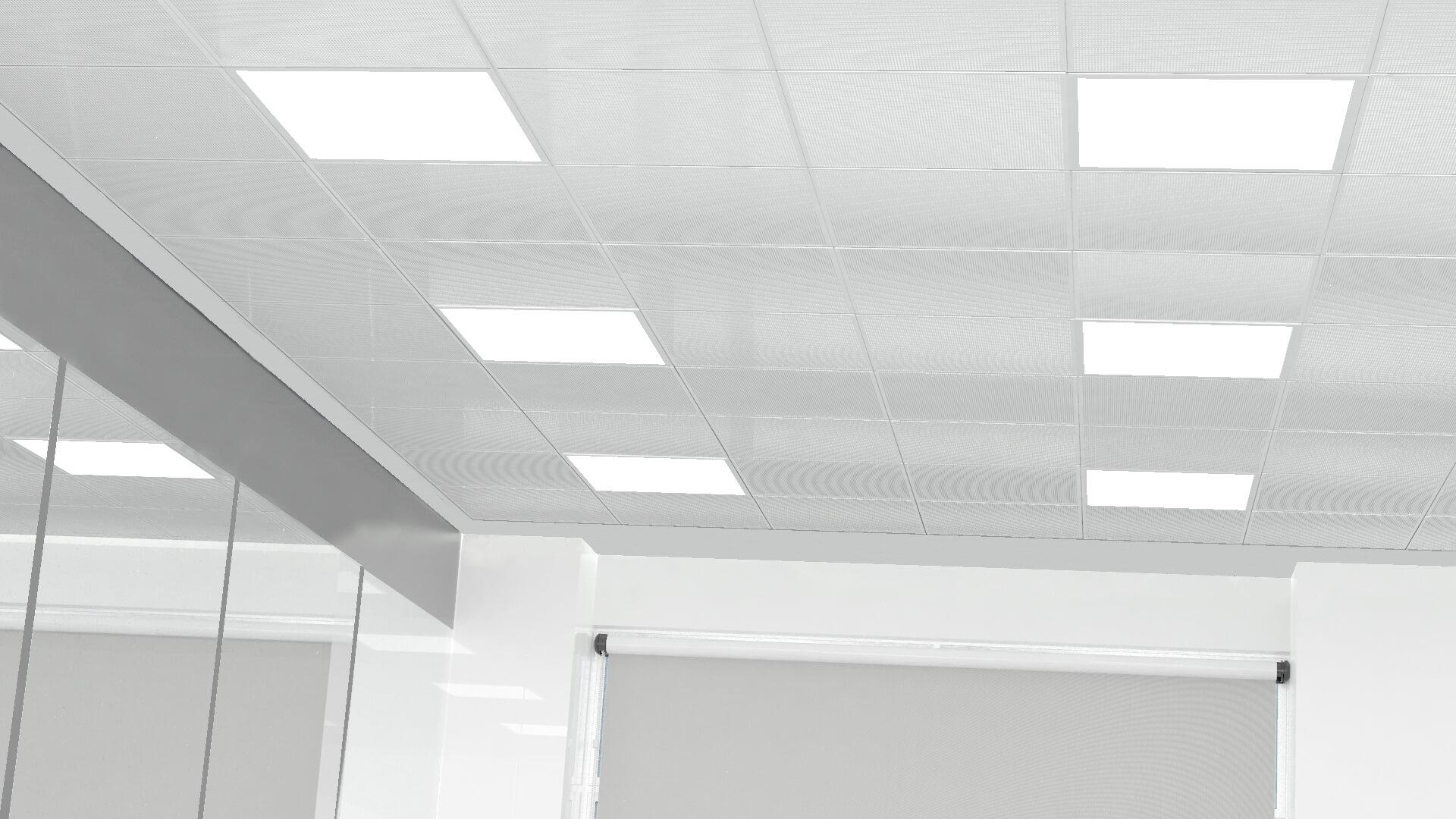 Detalle de instalación de las luminarias en falto techo de oficinas.